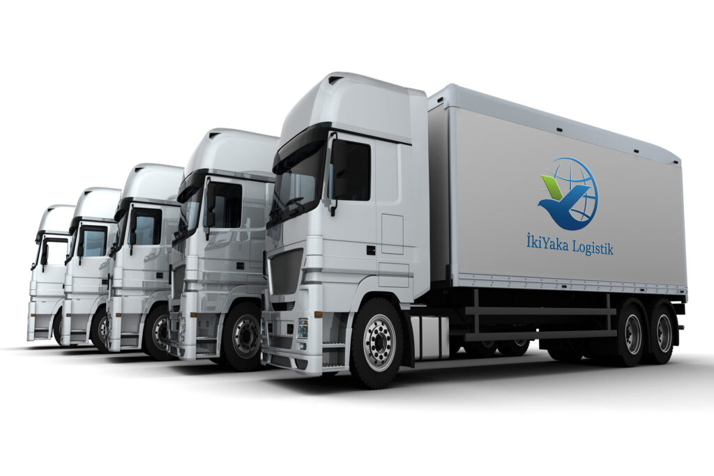 3D Render of a Fleet of Delivery Vehicles