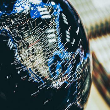 A selective closeup shot of a black globe